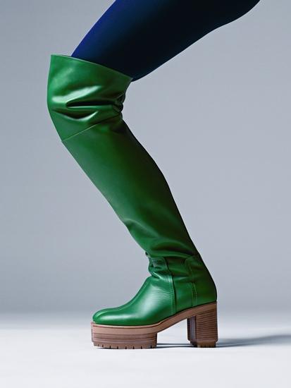 รองเท้าบูตในหนังลูกวัวสีเขียว Mosaic