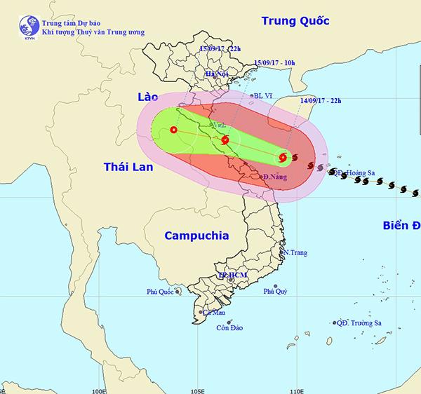 <br><FONT color=#00003>แผนภูมิโดยสำนักงานอุตุนิยมวิทยา และอุทกศาสตร์แห่งชาติเวียดนาม หยุดเอาไว้แค่ชายแดนลาว เวลา 4 ทุ่มคืนวันศุกร์ 15 ก.ย. เวียดนามกำลังเผชิญพายุลูกใหญ่ที่สุด รุนแรงที่สุดในรอบ 10 ปี.</b>