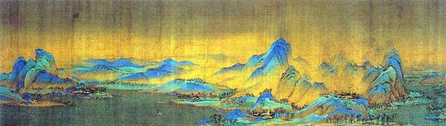 ส่วนหนึ่งของภาพ เชี่ยนหลี เจียนซัน ถู (《千里江山图》 พันลี้แห่งแม่น้ำและขุนเขา) โดย หวัง ซีเมิ่ง (ค.ศ.1096–1119)