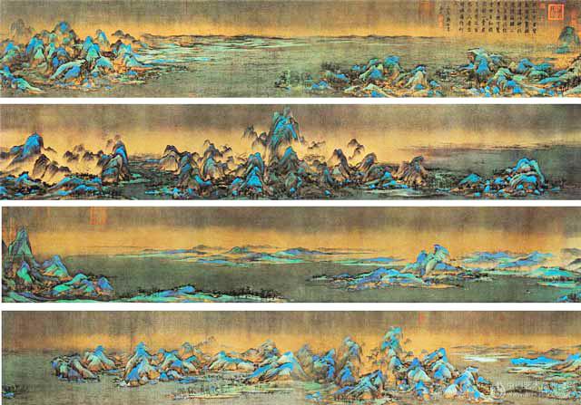 รวมภาพแต่ละท่อน ของภาพเขียน ภาพ เชี่ยนหลี เจียนซัน ถู (《千里江山图》 พันลี้แห่งแม่น้ำและขุนเขา) โดย หวัง ซีเมิ่ง (ค.ศ.1096–1119)