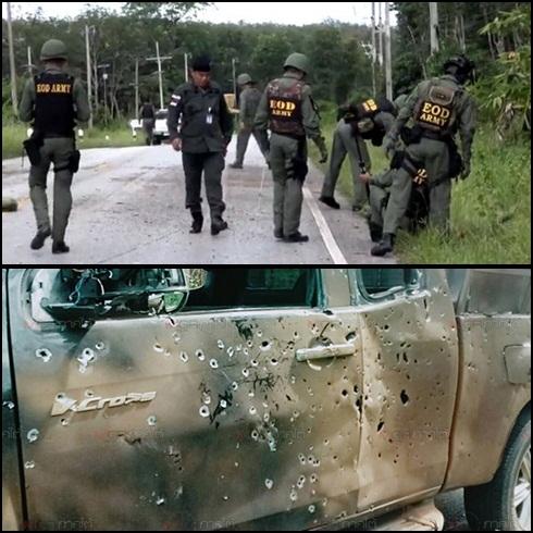 (บน) เจ้าหน้าที่รุดตรวจจุดเกิดเหตุระเบิด (ล่าง) สภาพรถของเจ้าหน้าที่ที่ถูกสะเก็ดระเบิดจนพรุนทั้งคัน