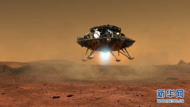 ภาพกราฟิคจำลองยานลงจอดดาวอังคารของจีน ซึ่งเป็นส่วนหนึ่งของแผนการสำรวจดาวอังคารภายในพ.ศ. 2563 (ภาพ ซินหวา)