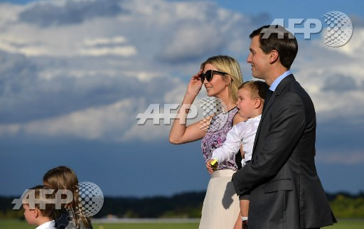 Ivanka Trump and husband Jared Kushner step off Air Force One with their children on September 15, 2017 in Morristown, New Jersey. US President Donal Trump, advisors and family are spending the weekend at Trumps Bedminster, New Jersey golf club. Mandel Ngan/AFP