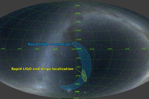 ตำแหน่งของคลื่นความโน้มถ่วงที่ถูกค้นพบ แสดงให้เห็นบริเวณที่คาดว่าจะเป็นตำแหน่งของแหล่งกำเนิดคลื่นความโน้มถ่วง โดยบริเวณของแหล่งกำเนิดคลื่นความโน้มถ่วง GW170814 มีขนาดเล็กกว่าบริเวณของคลื่นความโน้มถ่วงอื่น เนื่องจากการเพิ่มเครื่องตรวจจับจากจำนวน 2 เครื่องเป็น 3 เครื่อง