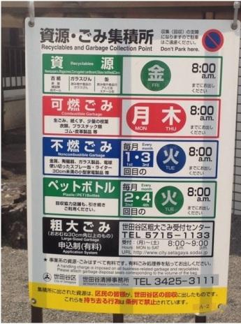 (ป้ายบริเวณจุดทิ้งขยะของเขตหนึ่งในกรุงโตเกียว ระบุวันเวลาสำหรับทิ้งขยะแต่ละประเภท) ภาพจาก https://ameblo.jp/koyamiotsuma