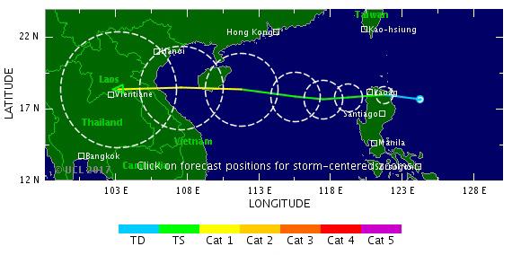 <br><FONT color=#00003>แผนภูมิพยากรณ์โดย TSR อีกชิ้นหนึ่ง ใช้เส้นสีแสดงให้เห็นวิวัฒนาการของพายุ ตามช่วงเวลาต่างๆ ขณะเคลื่อนตัวเป็นแนวเกือบตรง มุ่งสู่อนุภูมิภาคแม่น้ำโขง -- โปรดช่วยกันภาวนา. </b>