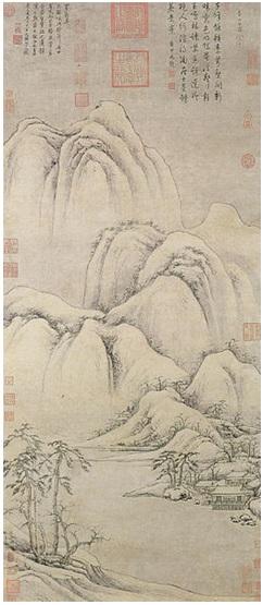 ภาพเขียนของ เฉา จื๊อไป๋ (曹知白, 1271 - 1355) ซึ่งใช้การจัดวางองค์ประกอบแนวตั้ง (ภาพจาก francois-murez.com)