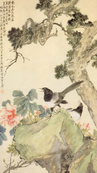 ภาพดอกโบตั๋น โดย หวัง หลี่, 王禮 (1813–1879)