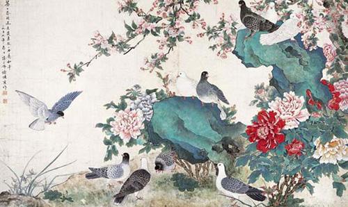 ภาพดอกโบตั๋น วาดโดย เฉิน จื่อฝอ, (陳之佛) 1896-1962