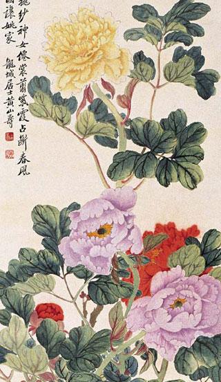 ภาพดอกโบตั๋น โดย หวง ซานโซว (1855-1919)