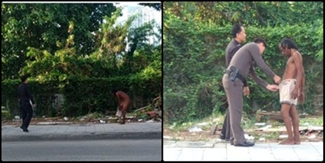 มุมน่ารัก ! 2 สายตรวจ เข้าช่วยเหลือชายสติไม่ดีติดกระดุมกางเกง หลังยืนโป๊ริมถนน