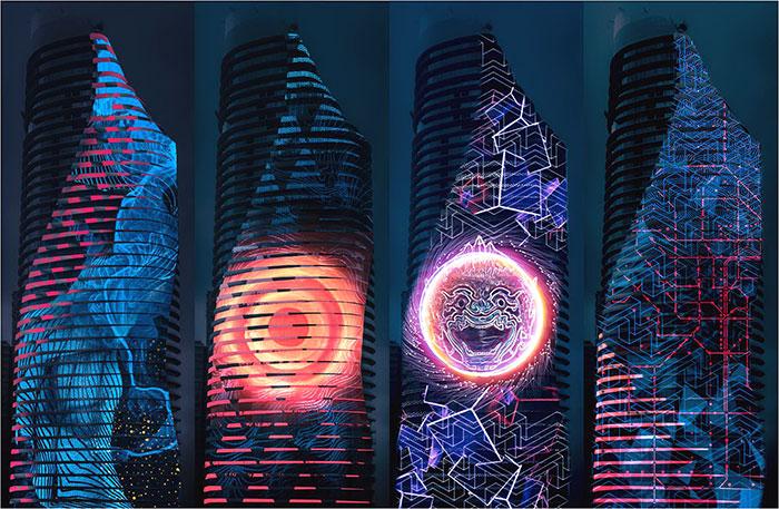 """ครั้งแรกในเมืองไทย!! """"3D Mapping"""" อลังการแสงสี 3 มิติ บนตึกสูง 60 ชั้น ใจกลางกรุงฯ"""