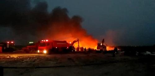 เกิดเหตุเพลิงไหม้บ่อขยะเนื้อที่ 500 ไร่ ใน อ.พนมสารคาม จ.ฉะเชิงเทรา