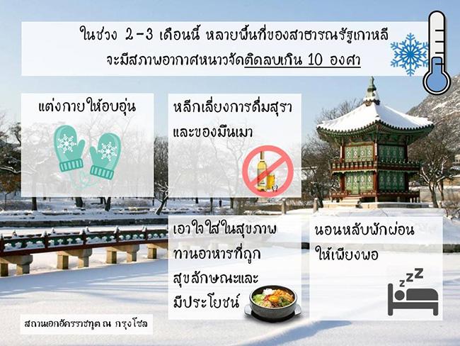 """สถานทูตเตือนคนไทยในเกาหลีระวัง """"อากาศหนาวจัด"""" เผยปีที่แล้ว ตายพุ่ง 72 ราย"""