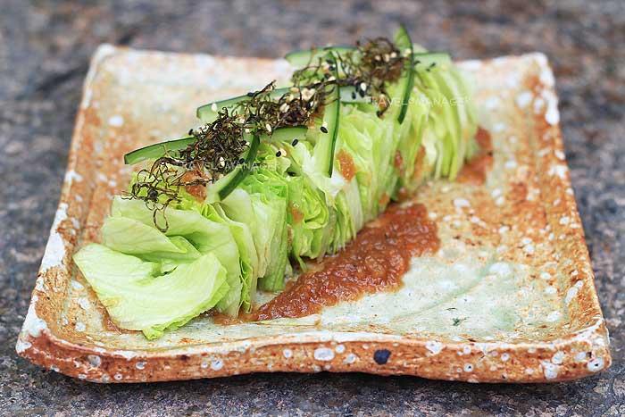 Iceberg lettuce, crispy konbu , pickled cucumber, wafu dressing
