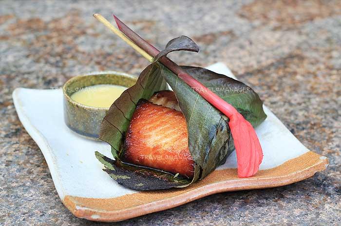 Miso marinated black cod wrapped in hoba leaf