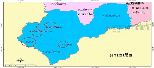 แผนที่การกระจายอยู่ของชาวไทยเชื้อสายจีนฮากกาในอำเภอเบตง จังหวัดยะลา