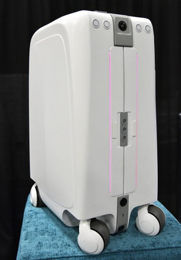 The ForwardX Robotics self-driving CX-1 suitcase is seen during the CES Unveiled event on the sidelines of CES 2018 in Las Vegas on January 7, 2018. Mandel Ngan/AFP