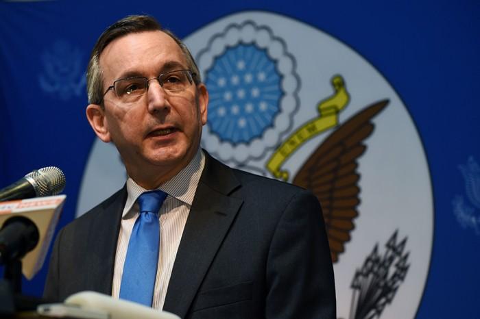 สก็อต มาร์เซียล เอกอัครราชทูตสหรัฐฯ ประจำพม่า. -- Agence France-Presse/Romeo Gacad.