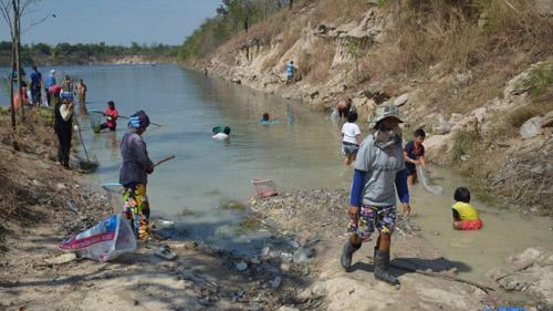 ชาวบ้านต.หนองตำลึง แห่จับปลาที่ลอยตายในบ่อลูกรังเก่า