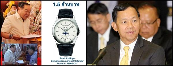 (ซ้าย) ภาพนาฬิกาหรูเรือนที่ 25 ของ พล.อ.ประวิตร วงษ์สุวรรณ รองนายกฯ และ รมว.กลาโหม ที่เพจ CSI LA เผยแพร่ออกมาก่อนหน้านี้ (ขวา) พล.ต.อ.วัชรพล ประสานราชกิจ ประธาน ป.ป.ช.