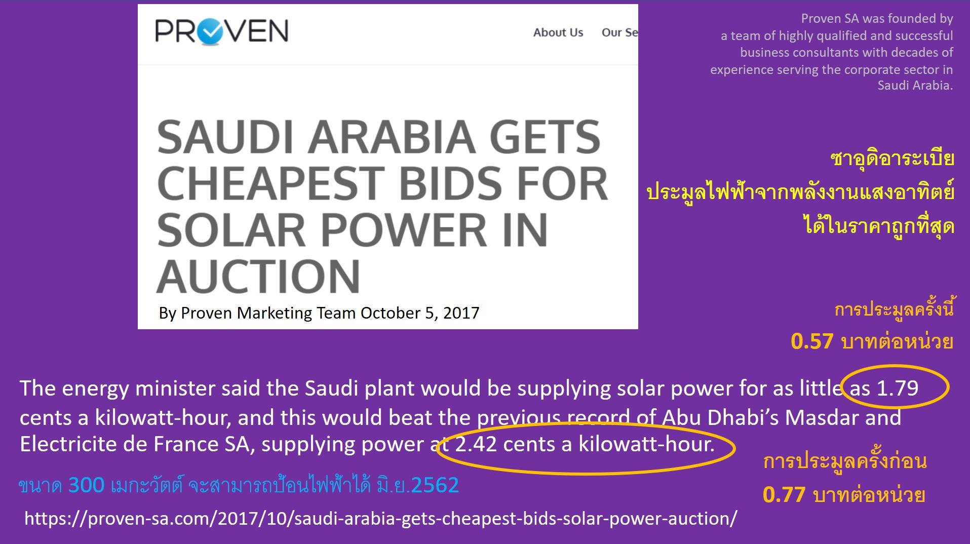 เมื่อซาอุดีอาระเบียจะผลิตไฟฟ้าด้วยแสงแดดและลม...เพราะถูกกว่าใช้ก๊าซและน้ำมัน!