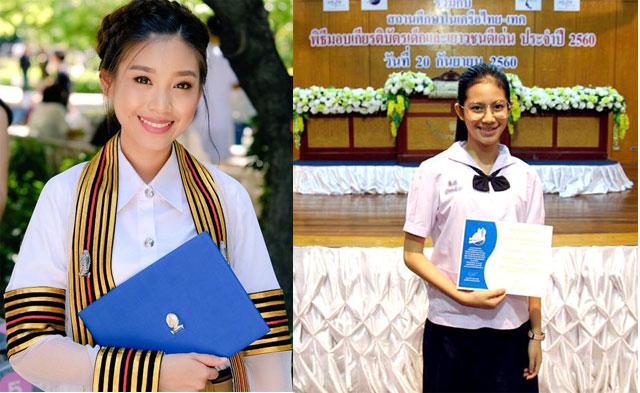 แก้ว BNK48 เกียรตินิยมอันดับหนึ่ง คณะศิลปกรรมศาสตร์บัณฑิต สาขาดุริยางคศิลป์ และ และ จ๋า BNK48 ยังรับรางวัลเกียรติบัตรเด็กและเยาวชนดีเด่น ครั้งที่ 9 ประจำปี 2560