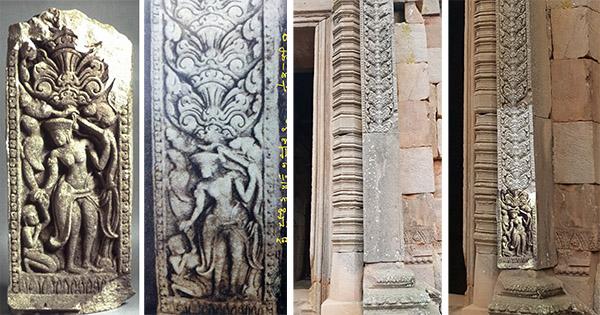 2 ภาพแรกคือ เสาติดผนังที่พิพิธภัณฑ์ศิลปะเอเชีย และภาพถ่ายเก่าเสาติดผนังที่ปราสาทพนมรุ้ง ส่วน 2 ภาพหลังคือการทดลองนำชิ้นส่วนมาติดตรงช่องว่างที่โคนเสาด้วยคอมพิวเตอรืกราฟิก