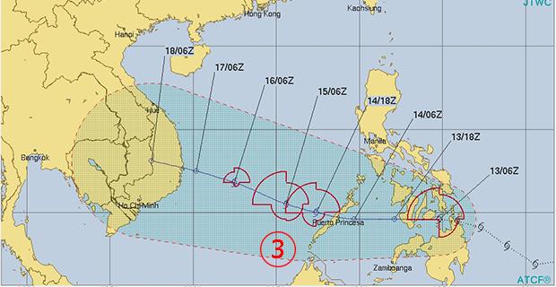 <br><FONT color=#00003>แผนภูมิโดยศูนย์ร่วมแจ้งเตือนไต้ฝุ่น กองทัพเรือสหรัฐ อัปเดทล่าสุดไม่กี่ชั่วโมงมานี้่ ชี้ปลายทางของพายุซันบาในอนุภูมิภาคแม่น้ำโขง -- ท้าทายมวลอากาศหนาวเย็น ที่กำลังเคลื่อนลงมา.   </b>