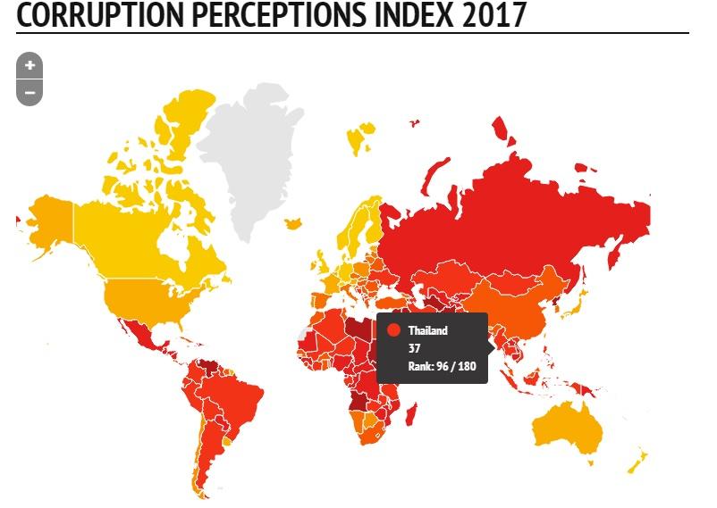 """ดัชนีคอร์รัปชันโลก 2017 ไทยขยับดีขึ้น 5 อันดับอยู่ที่ 96 รั้งที่ 4 อาเซียนเท่า """"อิเหนา"""""""