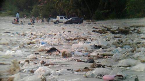 ตะลึง!!!พบขยะและขวดพลาสติกจำนวนมากถูกซัดเกลื่อนชายหาดบ้านก้นอ่าว