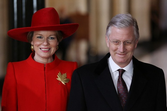 King Philippe and Queen Mathilde of Belgium pose for pictures after meeting with Government of Canada representatives on Parliament Hill during the state visit to Canada, in Ottawa, Ontario, on March 12, 2018. Lars Hagberg/AFP