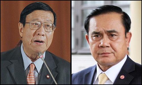 (ซ้าย) นายพรเพชร วิชิตชลชัย ประธาน สนช. (ขวา) พล.อ.ประยุทธ์ จันทร์โอชา นายกรัฐมนตรีและหัวหน้า คสช.
