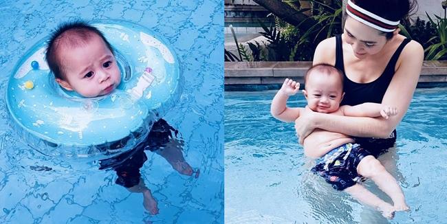"""น่ารักสุดๆส่อง """"สายฟ้า – พายุ"""" ลูกแฝด """"ชมพู่ อารยา"""" ลงสระว่ายน้ำครั้งแรก"""