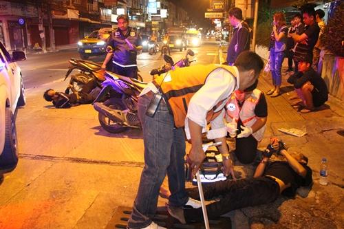 อุบัติเหตุ 2 รายซ้อนในเมืองพัทยาช่วงใกล้รุ่งที่ผ่านมา ทำบาดเจ็บระนาว