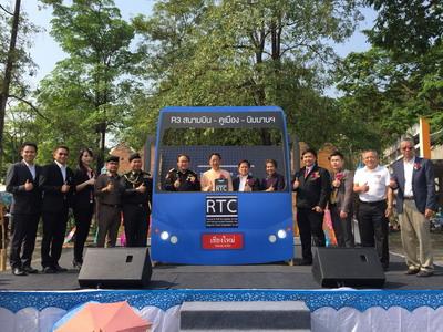 """มาแล้ว! เริ่มบริการรถเมล์เชียงใหม่เส้นทาง """"สนามบิน-นิมมานฯ-คูเมือง"""" แอร์เย็นฉ่ำ 20 บ.ตลอดสาย"""
