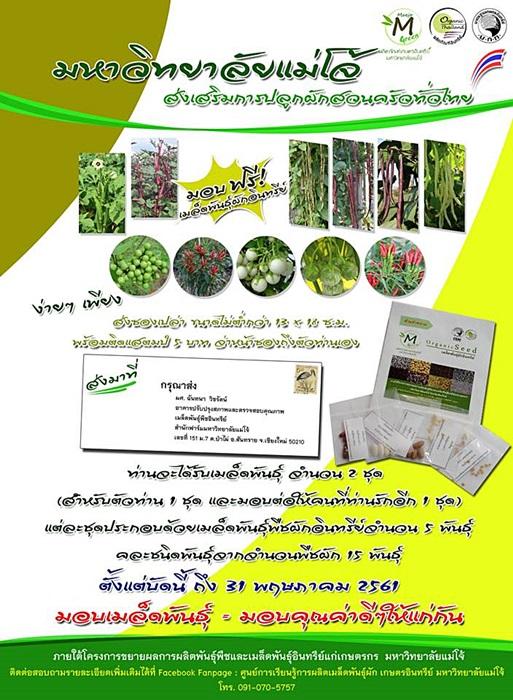 ม.แม่โจ้ ใจดี แจกฟรี เมล็ดพันธุ์ผักสวนครัวทั่วไทย