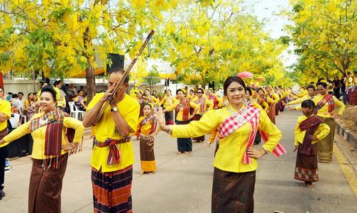 (ภาพชุด)เปิดแล้วถนนดอกคูณเหลืองสะพรั่งกว่า3กม.ต้อนรับสุดยอดสงกรานต์อีสานถนนข้าวเหนียว