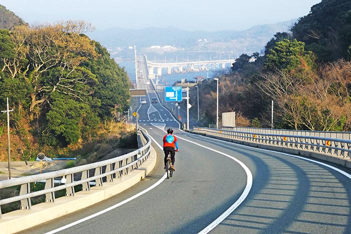 ช่วงขากลับปั่นจากเกาะทสึโนชิมะ ข้ามสะพานสายสวยสู่ฝั่งเมืองชิโมโนเซคิ