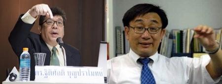( จากซ้าย )ผศ.ดร.ฐิติศักดิ์ บุญปราโมทย์ หัวหน้าภาควิชาวิศวกรรมเหมืองแร่และปิโตรเลียม จุฬาลงกรณ์มหาวิทยาลัย และดร.โสภณ พรโชคชัย นักวิชาการด้านอสังหาริมทรัพย์