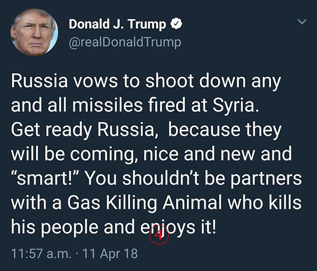 <br><FONT color=#00003>11 เม.ย. -- ก่อนการโจมตีเพียง 2 วัน นายโดนัลด์ ทรัมป์ เขียนในทวิตเตอร์ท้าทายรัสเซีย หลังมี่รายงานว่าฝ่ายนั้นขู่จะยิงอาวุธทุกชนิด ที่สหรัฐ อังกฤษกับฝรั่งเศส ใช้โจมตีซีเรีย -- ซึ่งไม่เป็นความจริง แต่ ปธน.สหรัฐเขียนว่า เตรียมตัวเลยรัสเซีย พวกนั้น (อาวุธปล่อยฯ) กำลังจะไป ทั้งดี ทั้งใหม่ และ ฉลาดอีกด้วย -- ซึ่งน่าจะหมายถึง AMG-158B นั่นเอง. </a>
