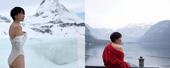 """""""เจี๊ยบ โสภิตนภา"""" ไม่แคร์ความหนาวใส่ชุดว่ายน้ำอวดความขาวสู้หิมะ"""