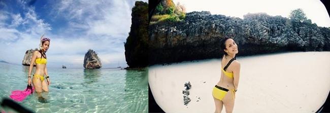 """""""แอริน"""" อวดหุ่นบางนุ่งทูพีซเหลืองเซ็กซี่ตัดกับสีฟ้าของน้ำทะเล"""