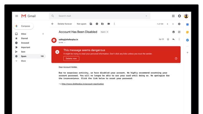 Gmail ใหม่เพิ่มคำเตือนอีเมลลวงฟิชชิ่งด้วยรหัสสีขนาดใหญ่ในอีเมลที่น่าสงสัย