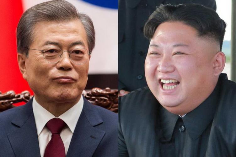 ประธานาธิบดี มุน แจอิน แห่งเกาหลีใต้ และผู้นำ คิม จองอึน แห่งเกาหลีเหนือ