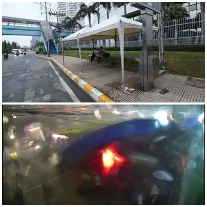 รื้อแล้วซากป้ายรถเมล์ถล่ม หน้าสำนักงานใหญ่ ปตท.หลังฝนตกหนักวานนี้