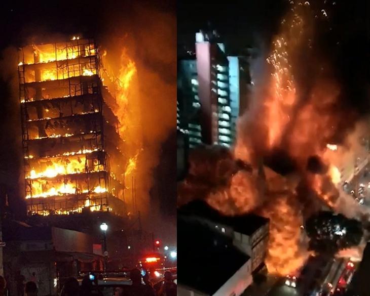 In Pics : สุดช็อก! อพาร์ตเมนต์สูงระฟ้ากลางบราซิล ถล่มตรงหน้าหลังไฟไหม้ คนติดด้านบนหวีดร้องขอความช่วยเหลือ