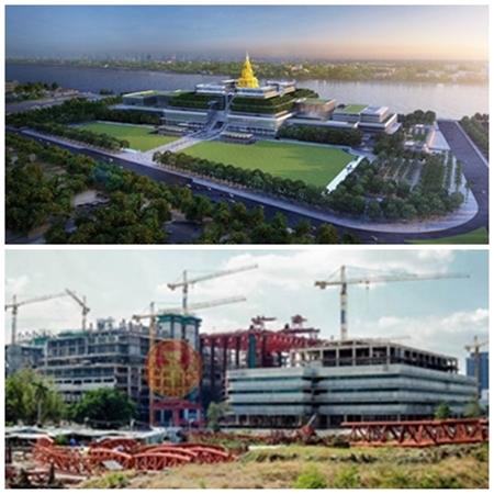 ( บน )ภาพจำลอง โครงการก่อสร้างอาคารรัฐสภาแห่งใหม่ (ภาพจากแฟ้ม)