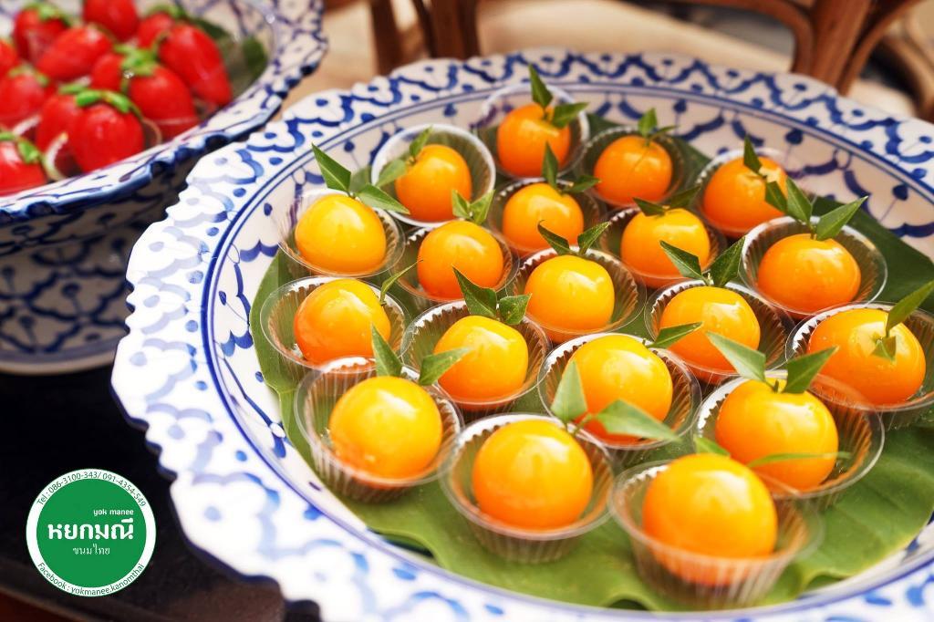 ขนมลูกชุบ ทำจากส้ม แอปปิคอท