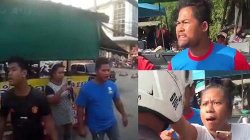 ภาพจากวิดีโอคลิป ยกครัวเปิดศึกกร่างด่ากราดเจ้าหน้าที่ตำรวจ สภ.มาบตาพุด อ.เมือง จ.ระยอง อย่างรุนแรง